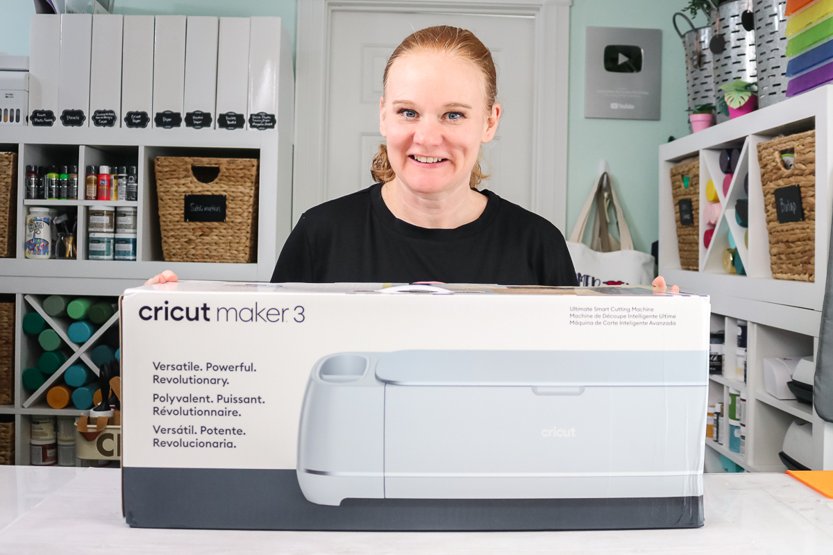 angie holden with a cricut maker 3 box