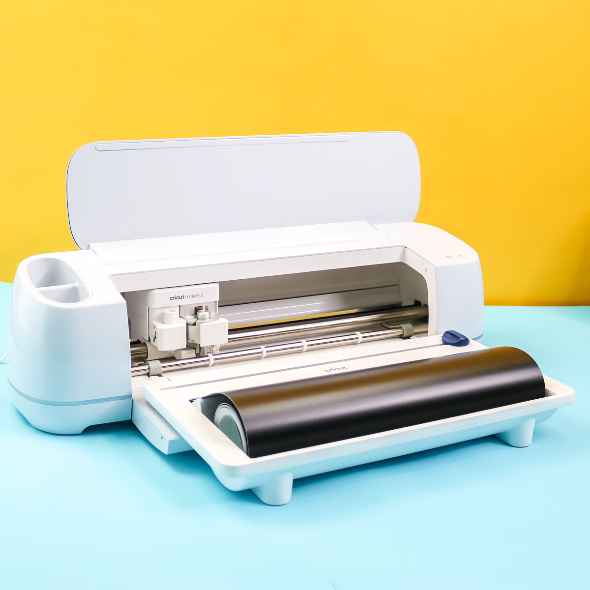 cricut maker 3 with roll holder installed