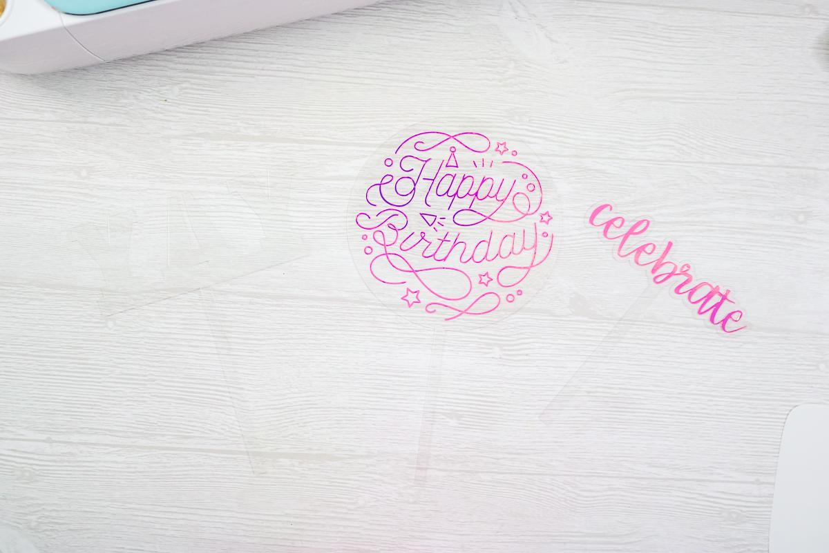 happy birthday vinyl on acrylic