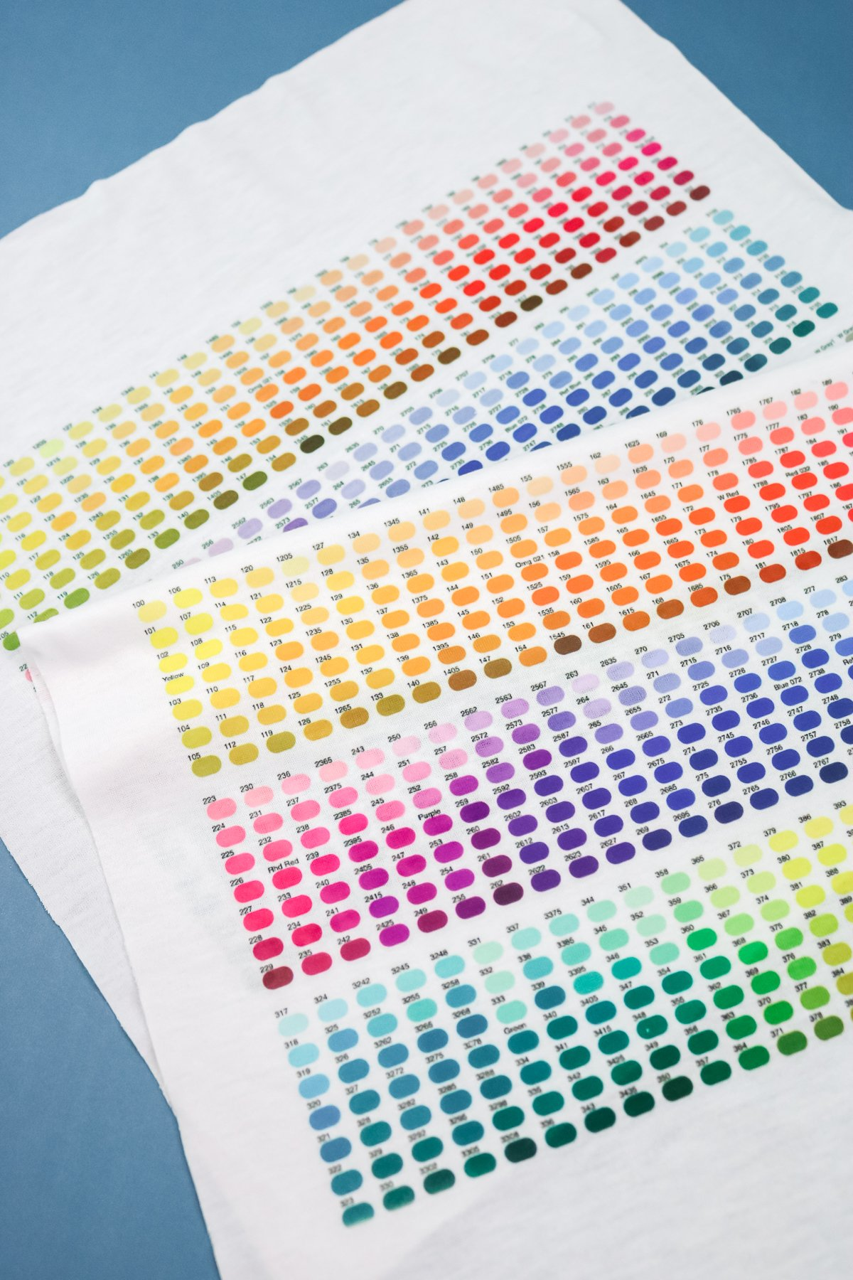 pantone color chart sublimated onto fabric
