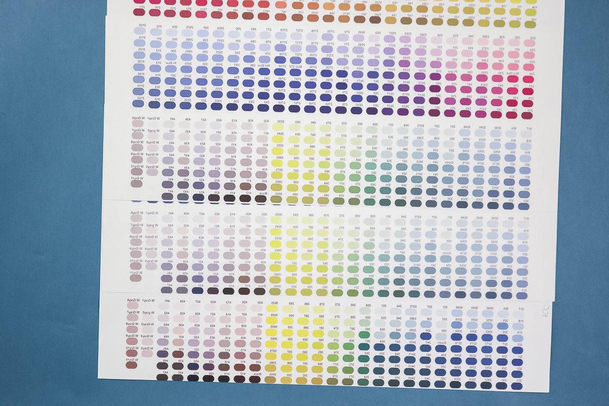 color charts from sublimation printer