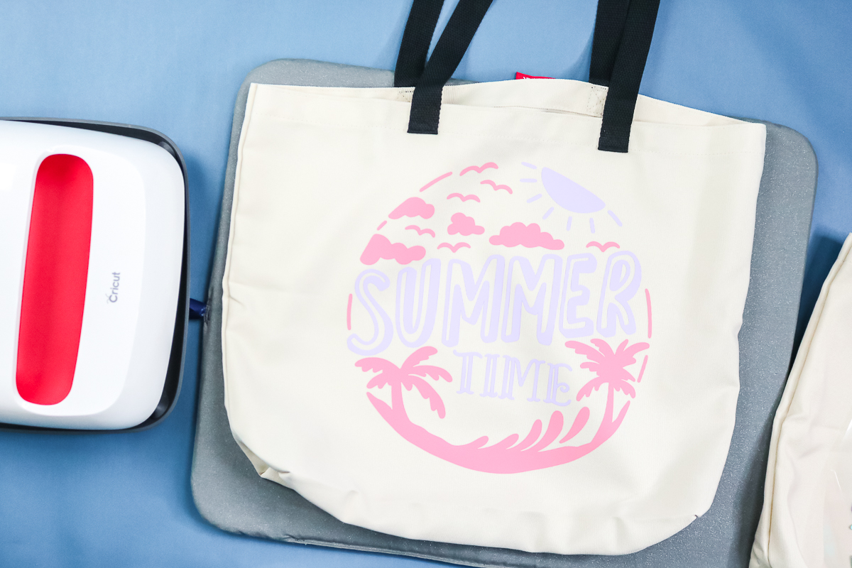 summer time tote bag with two colors of htv
