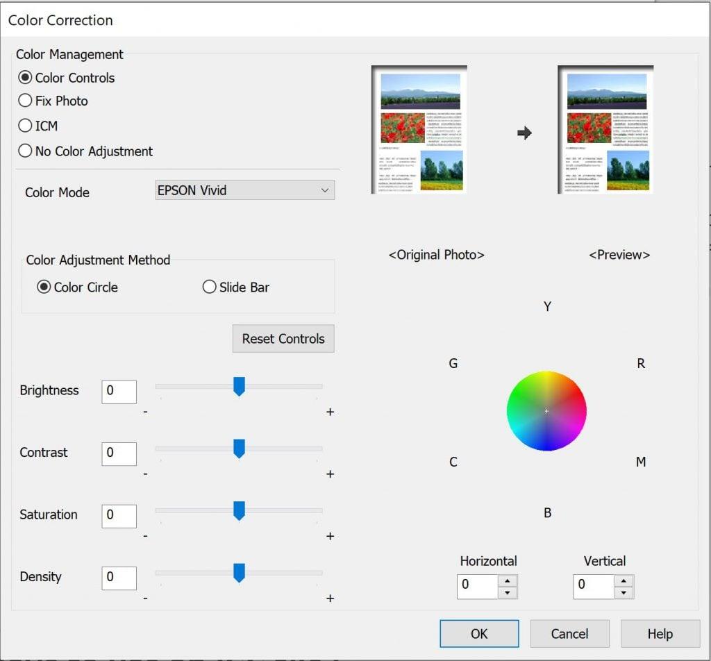manual color correction for a printer