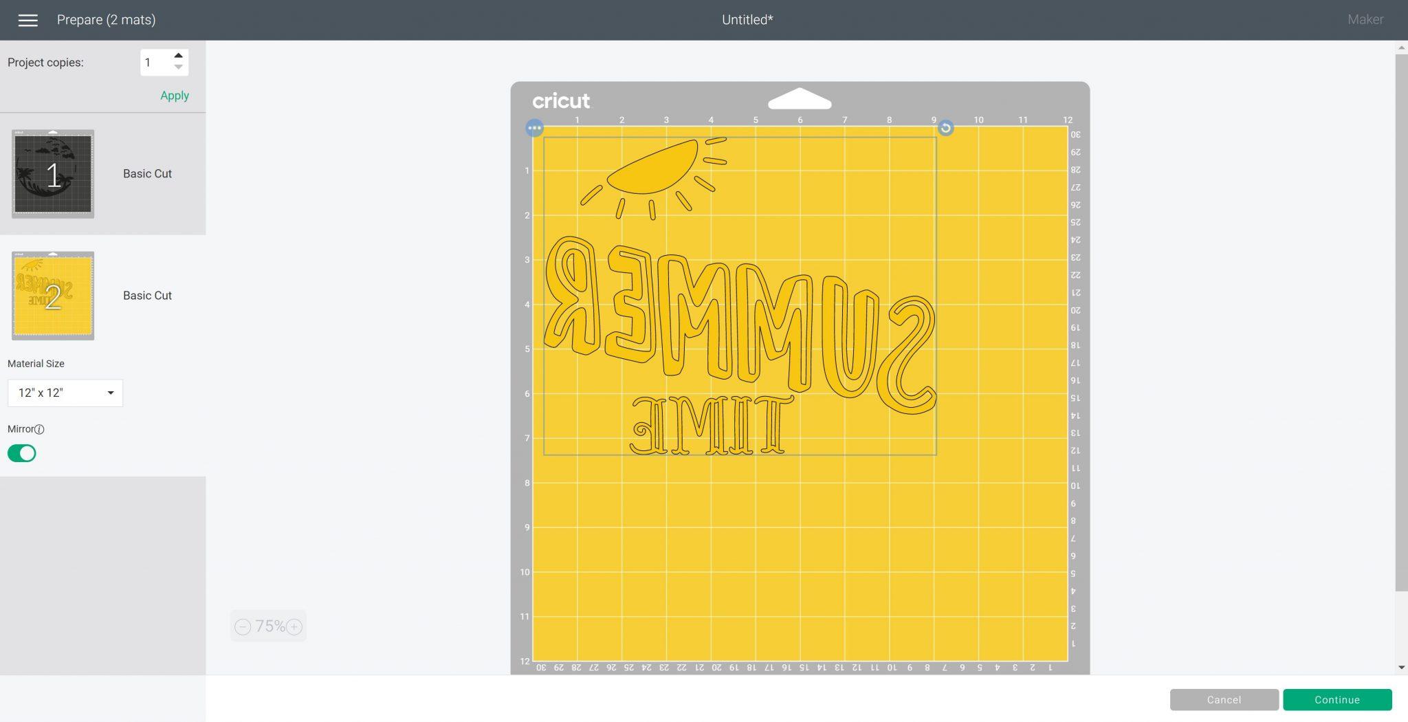 mirroring image in cricut design space