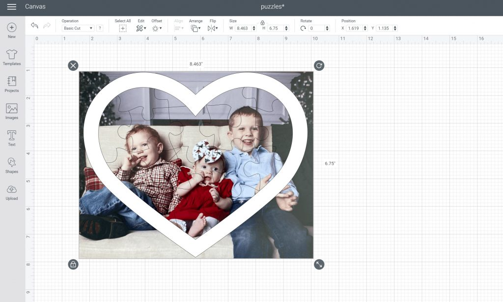 attaching puzzle to image in cricut design space