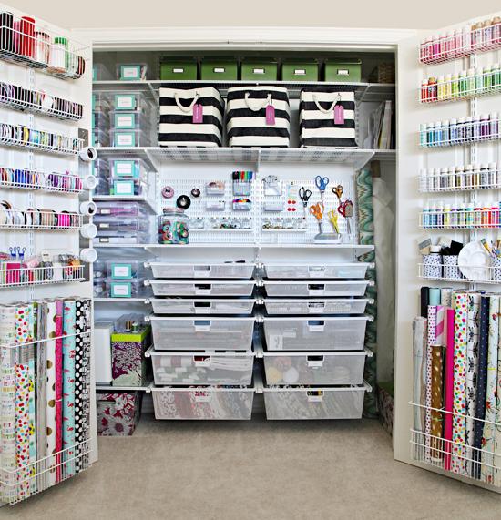 organized craft supply closet