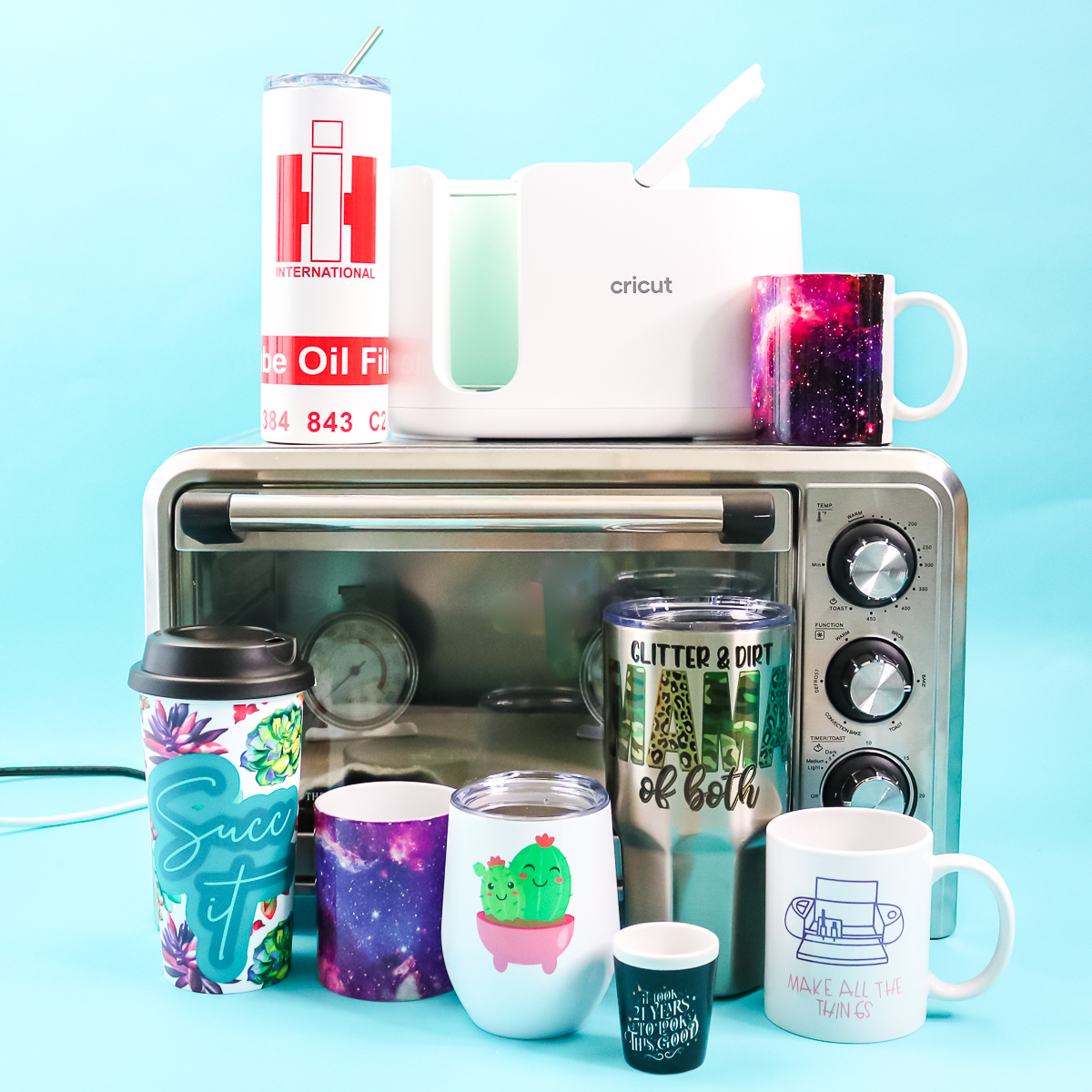 various sublimation mugs and tumblers
