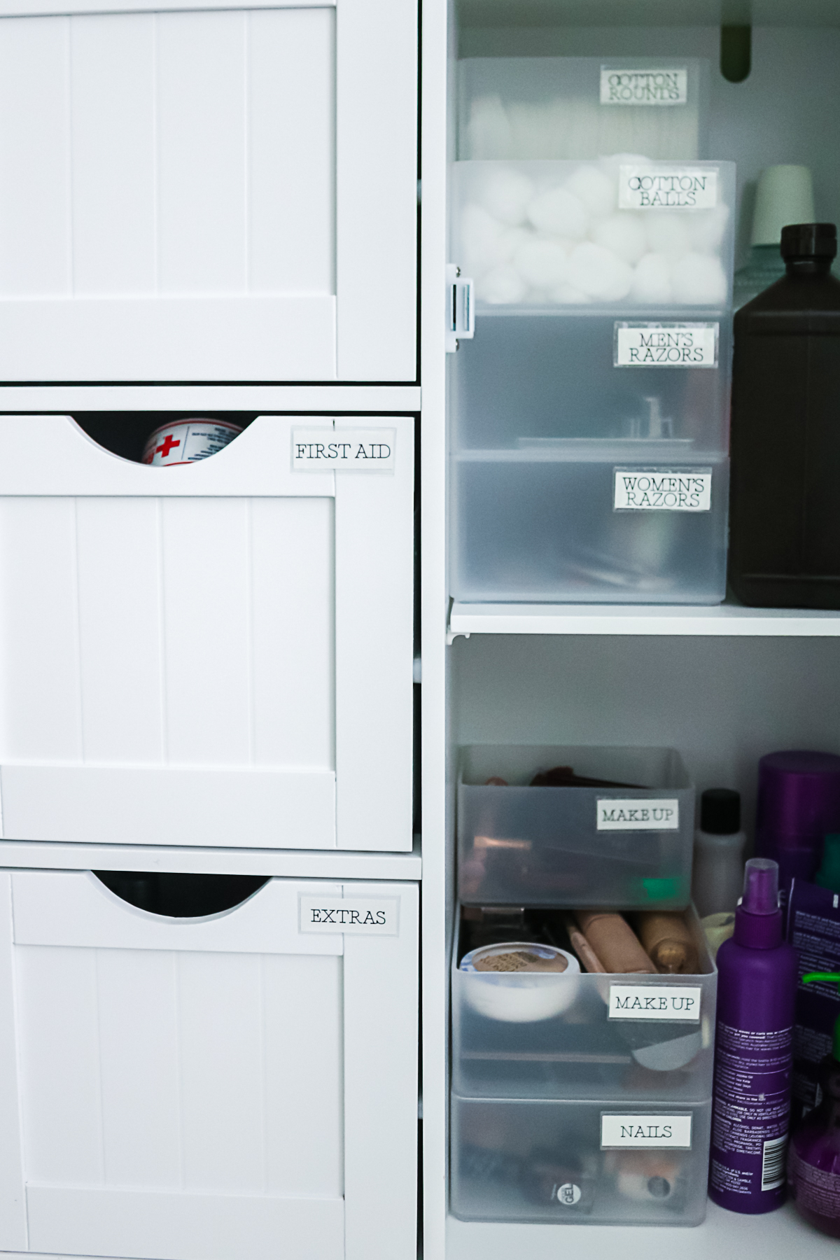 labels on bathroom bins