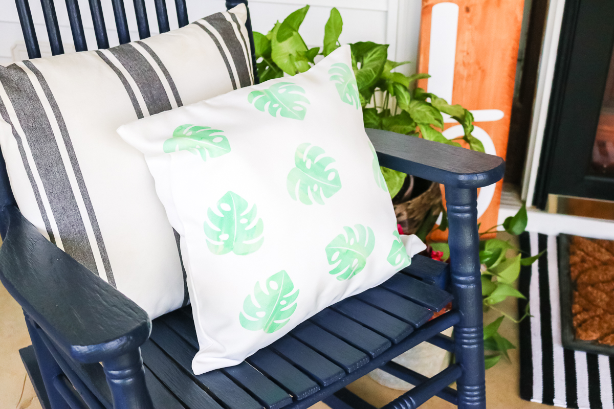 Infusible Ink pillow on a porch rocker