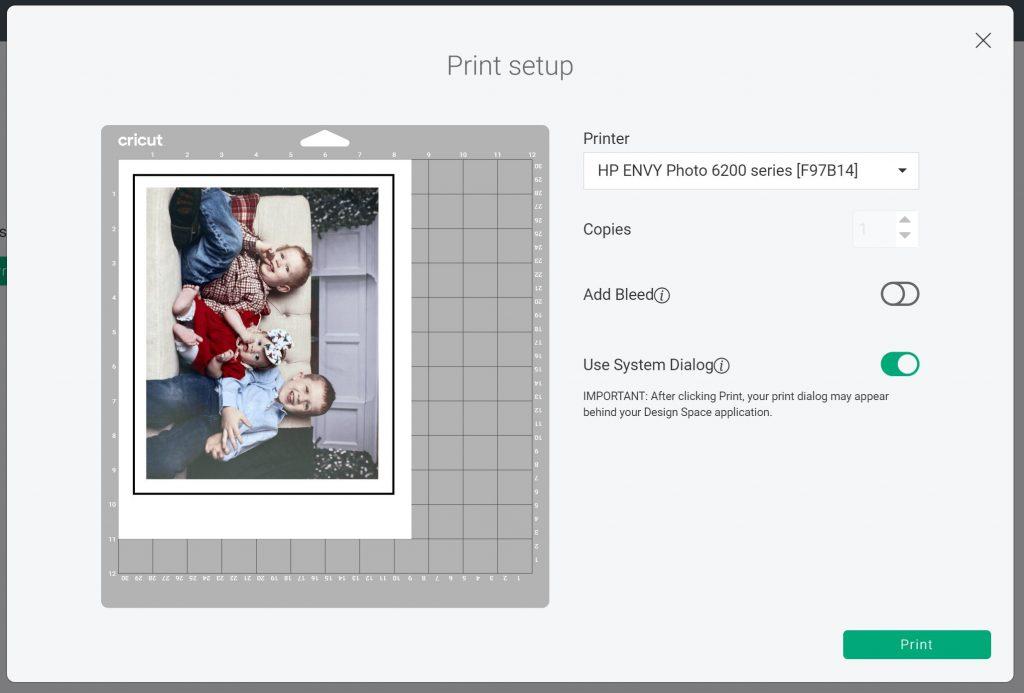 print then cut settings in design space