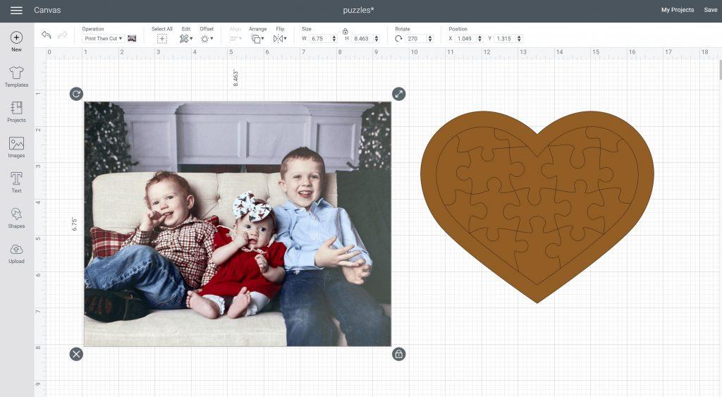 print then cut size in design space