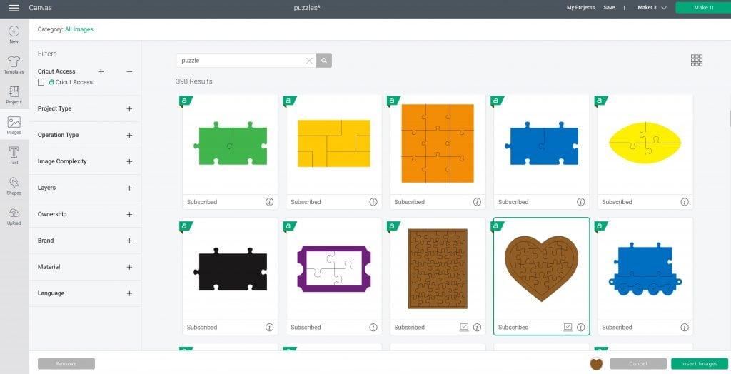 puzzle images in design space