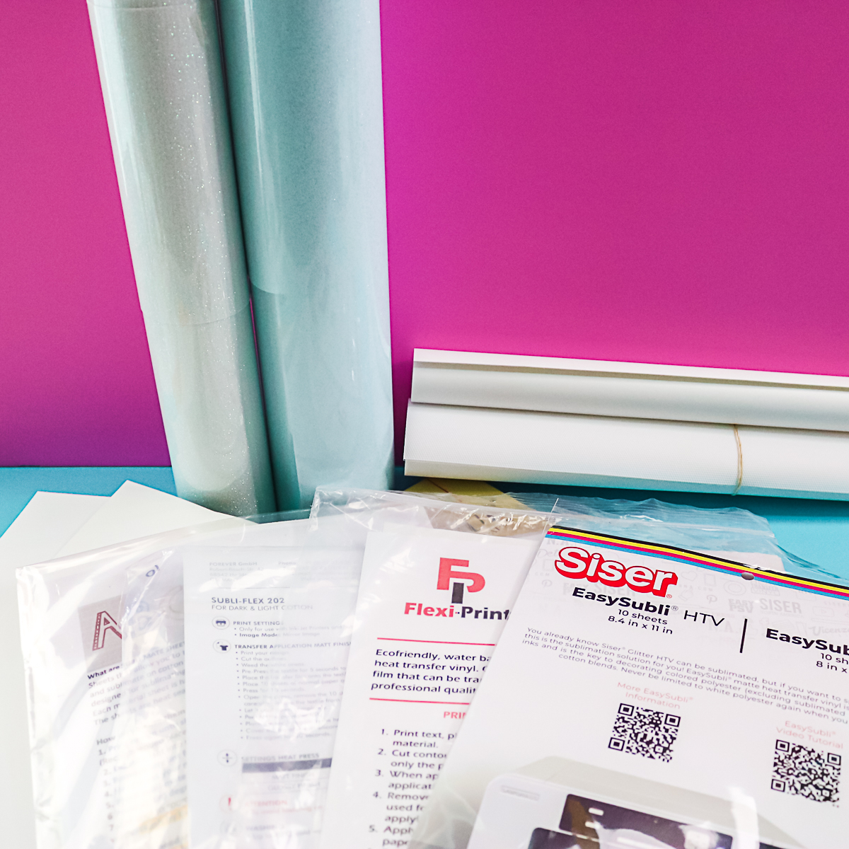 various products for dye sublimation on dark fabric