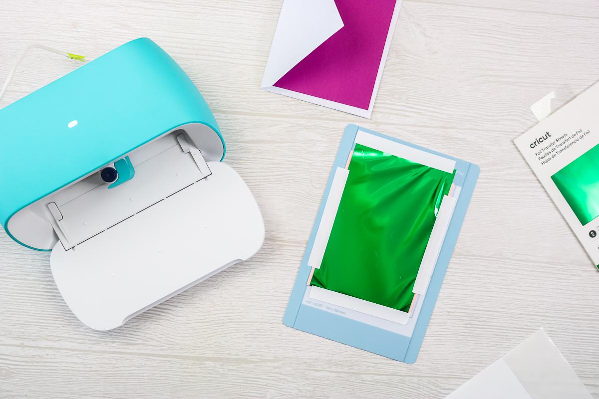 adding green foil with cricut joy foil tool