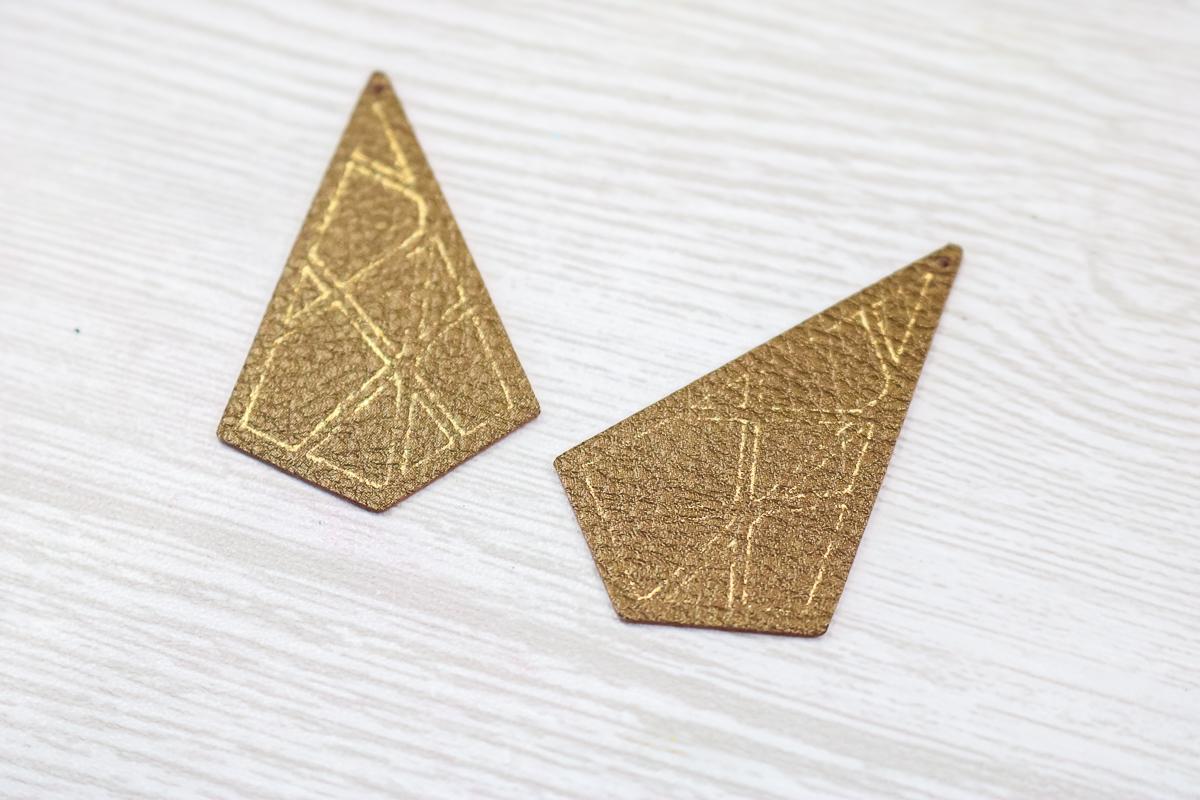 gold foil on faux leather earrings