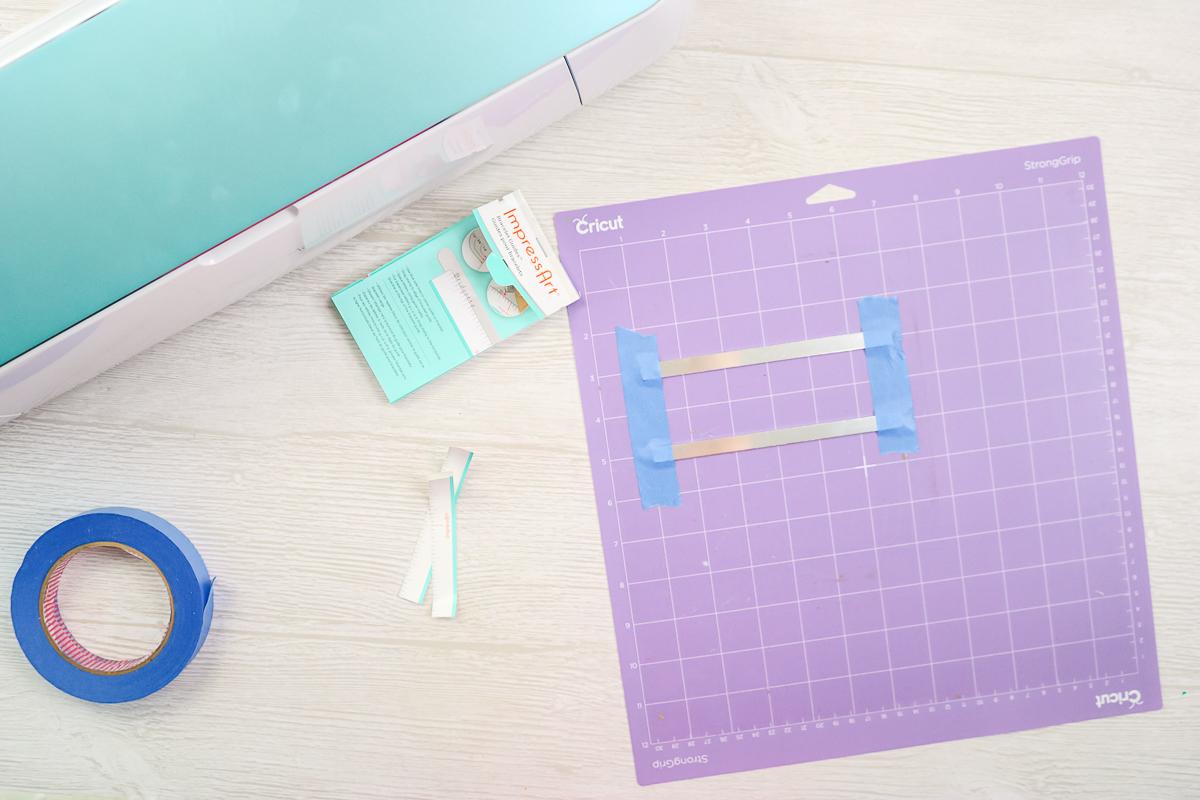 adding bracelet blanks to a strong grip cricut mat
