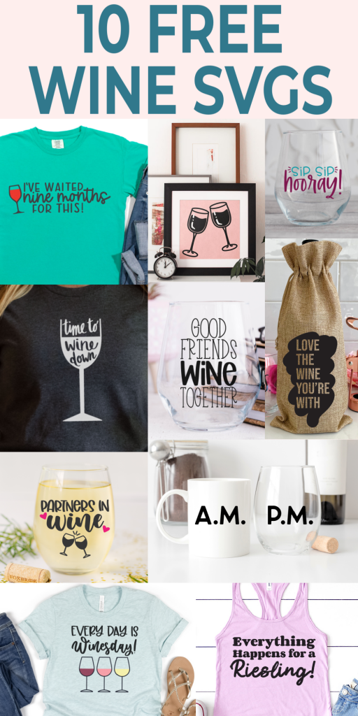 Don't miss these 10 wine SVG files for all of your Cricut crafts! You will love making things for yourself as well as your friends! #cricut #freesvg #cutfiles