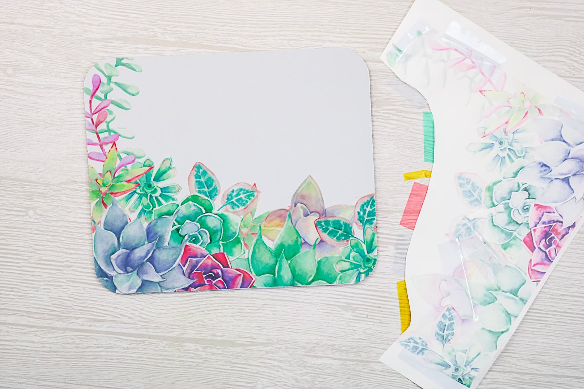 sublimation mouse pad with succulents