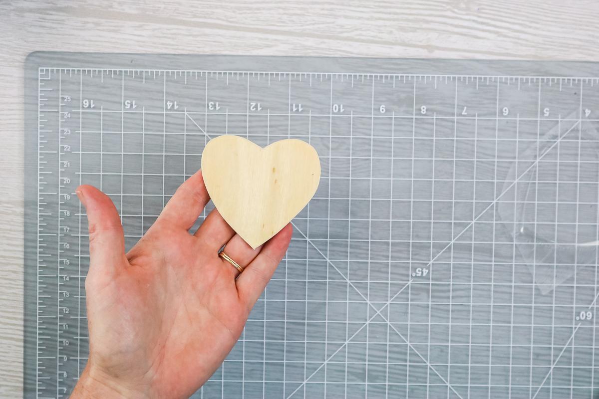 lamination sheet on wood heart
