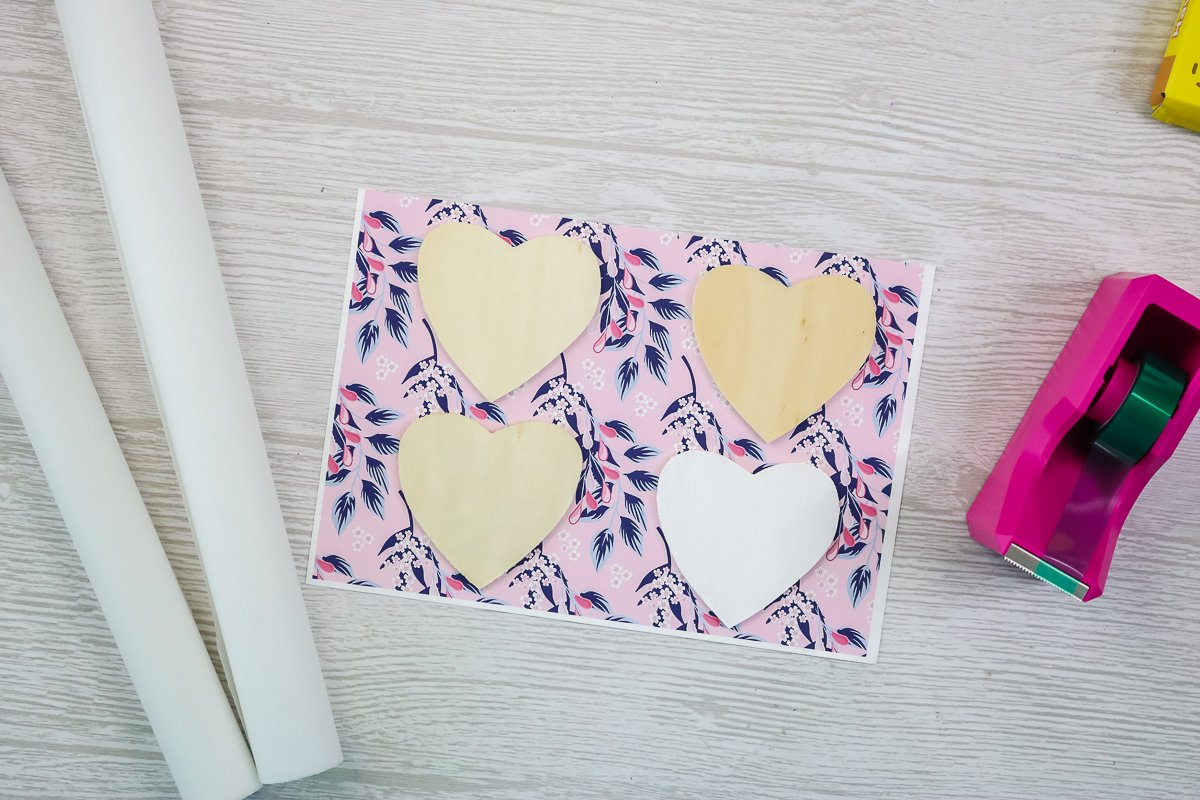 wood hearts on sublimation paper