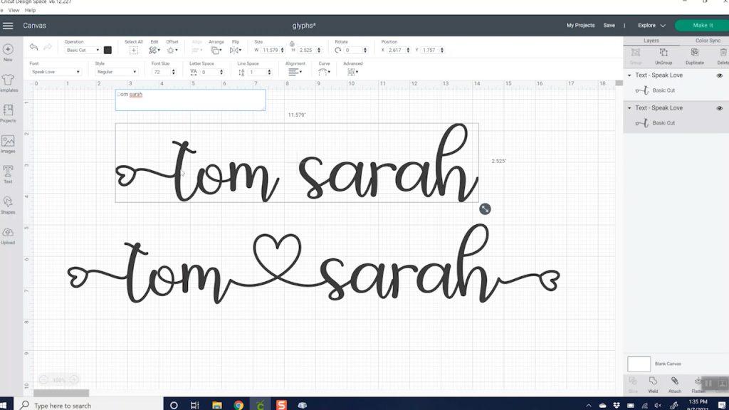 adding glyphs to cricut design space on a pc