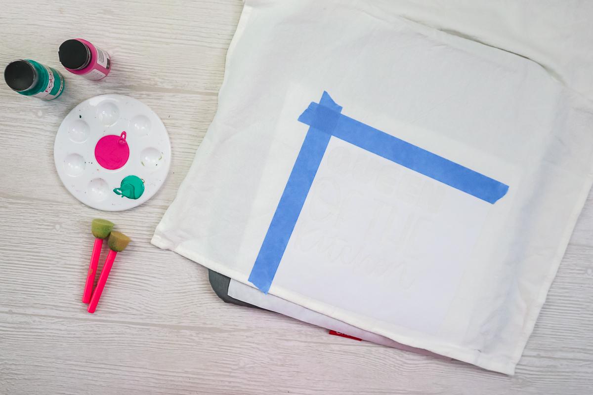 stencil ready to paint a tea towel