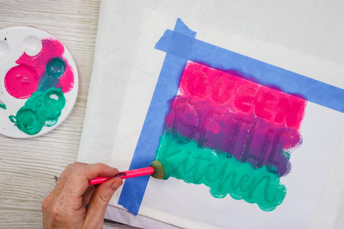 blending paint on a stencil