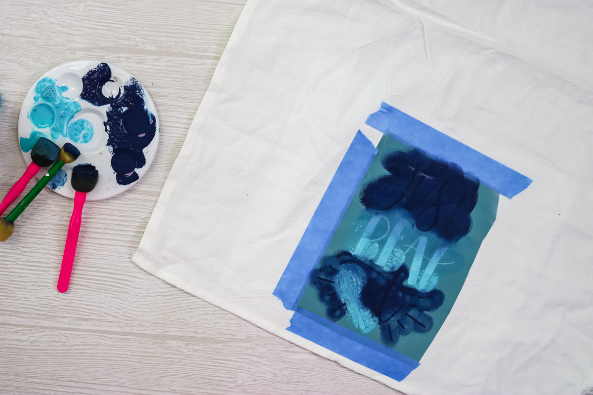 ombre stenciling technique with fabric paint