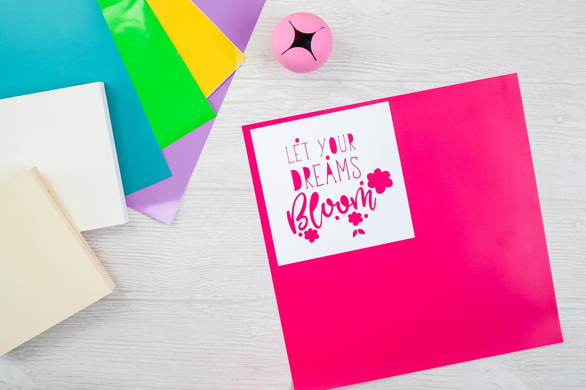 weeding box on pink vinyl