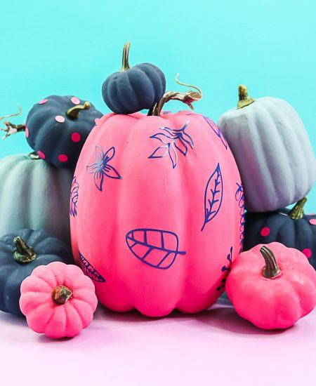 painting colorful pumpkins