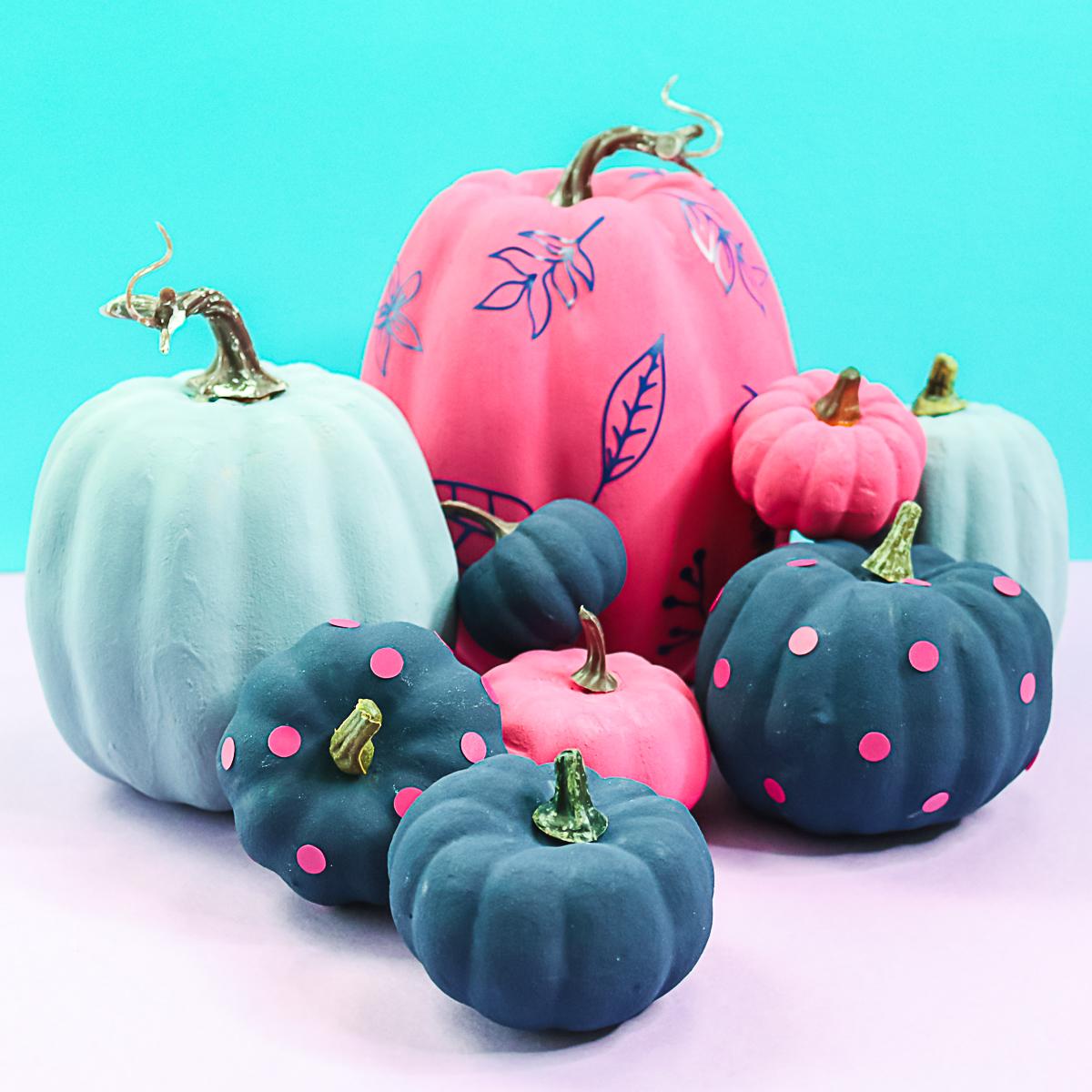 baking soda and acrylic paint on pumpkins